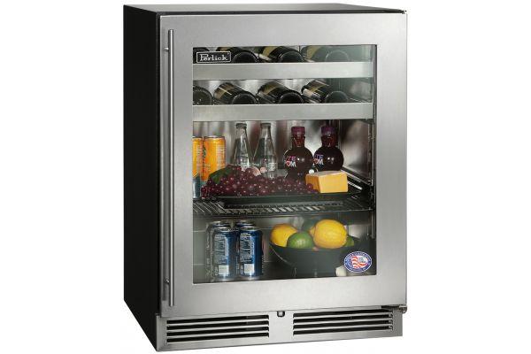 """Perlick 24"""" ADA Series Stainless Steel Glass Door Beverage Center - HA24BB-3-3R"""