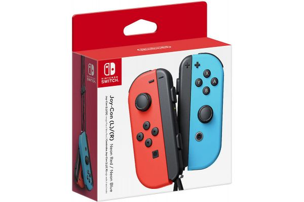Large image of Nintendo Switch Neon Red & Blue Joy-Con Controllers - HACAJAEAA