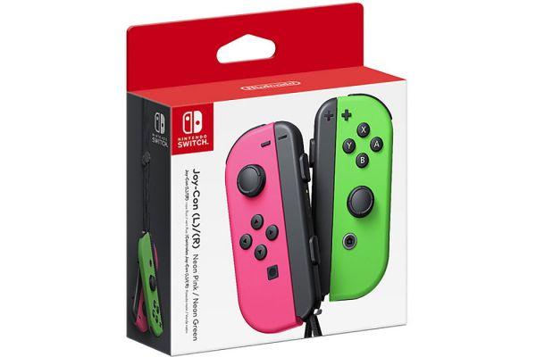 Large image of Nintendo Switch Neon Pink & Neon Green Joy-Con Controllers - HACAJAHAA