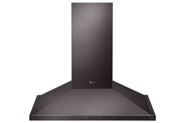"""Large image of LG 30"""" Black Stainless Steel Wall Mount Chimney Hood - HCED3015D"""