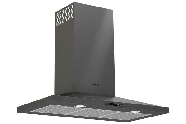 "Large image of Bosch 36"" 800 Series Black Stainless Steel Pyramid Canopy Chimney Hood - HCP86641UC"