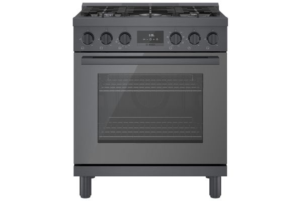"""Large image of Bosch 30"""" Black Stainless Steel Industrial-Style Dual Fuel Range - HDS8045U"""
