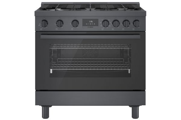 """Large image of Bosch 36"""" Black Stainless Steel Industrial-Style Dual Fuel Range - HDS8645U"""