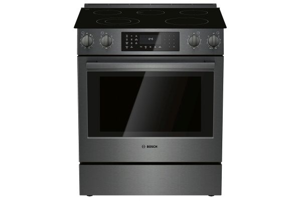 "Large image of Bosch 30"" Black Stainless Steel Electric Slide-In Range - HEI8046U"