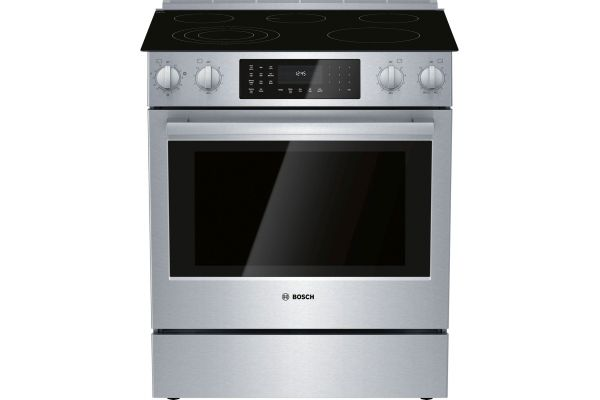 "Large image of Bosch 30"" Benchmark Series Stainless Steel Electric Slide-In Range - HEIP056U"