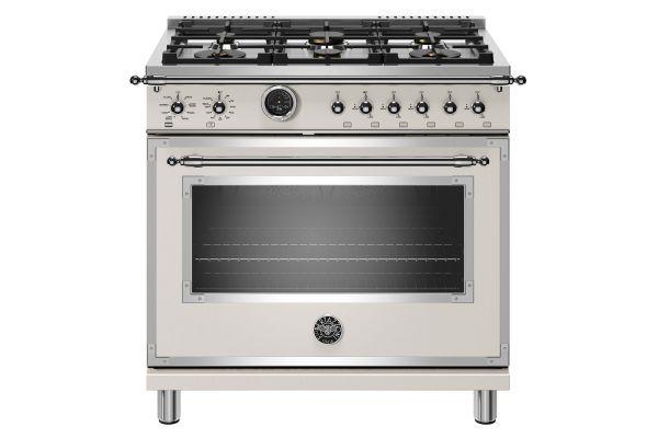 "Large image of Bertazzoni Heritage Series 36"" Avorio Dual Fuel With Electric Self-Clean Oven Range - HERT366DFSAVT"