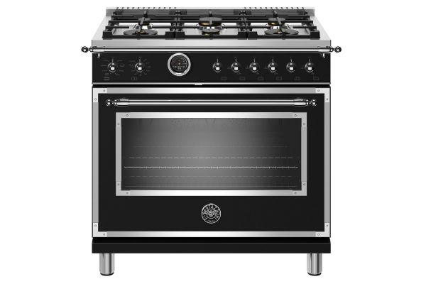 "Large image of Bertazzoni Heritage Series 36"" Matte Black Dual Fuel With Electric Self-Clean Oven Range - HERT366DFSNET"