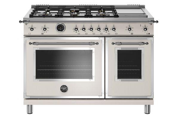 "Large image of Bertazzoni Heritage Series 48"" Avorio Dual Fuel With Electric Self-Clean Oven Range - HERT486GDFSAVT"
