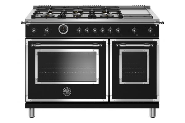 "Large image of Bertazzoni Heritage Series 48"" Matte Black Dual Fuel With Electric Self-Clean Oven Range - HERT486GDFSNET"