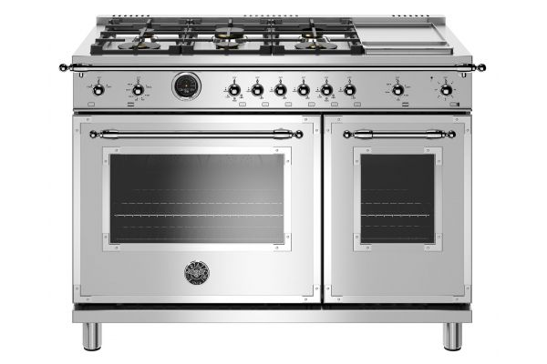 "Large image of Bertazzoni Heritage Series 48"" Stainless Steel Dual Fuel With Electric Self-Clean Oven Range - HERT486GDFSXT"
