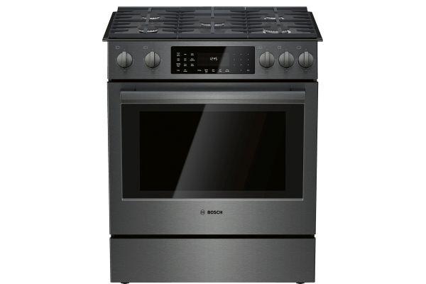 "Large image of Bosch 30"" 800 Series Black Stainless Steel Gas Slide-In Range - HGI8046UC"