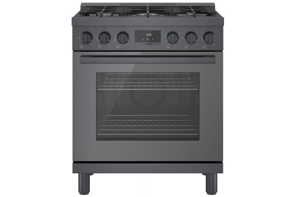 """Large image of Bosch 30"""" Black Stainless Steel Industrial-Style Gas Range - HGS8045UC"""