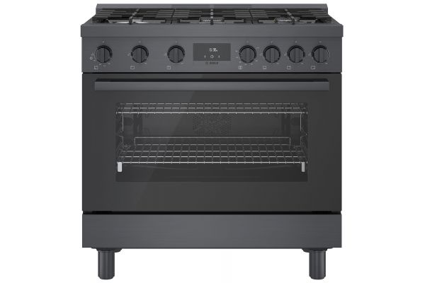 """Bosch 36"""" Black Stainless Steel Industrial-Style Gas Range - HGS8645UC"""