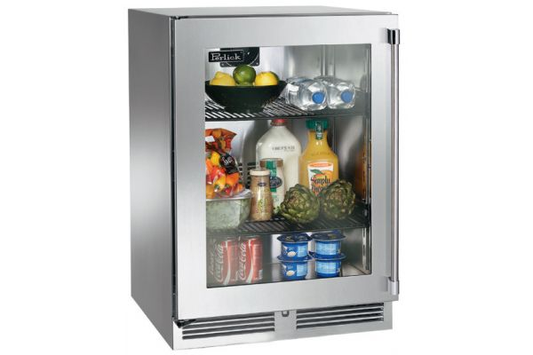 "Perlick 24"" Stainless Steel Glass Door Signature Series Indoor Refrigerator - HP24RS-3-3L"