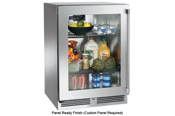 """Large image of Perlick 24"""" Signature Series Panel Ready Glass Door Left-Hinge Indoor Refrigerator - HP24RS-3-4L"""