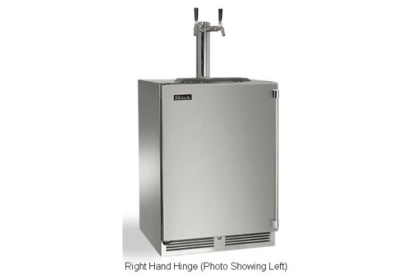 "Perlick 24"" Stainless Steel Signature Series Dual Tap Indoor Beer Dispenser - HP24TS-3-1R2"