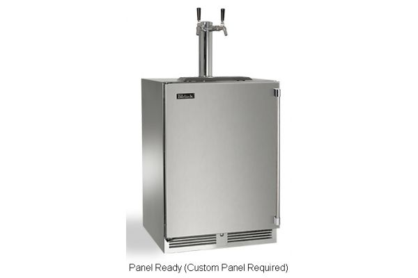 "Perlick 24"" Panel Ready Signature Series Dual Tap Beer Dispenser - HP24TS-3-2L2"