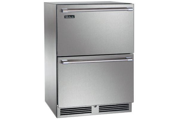"Perlick Signature Series 24"" Stainless Steel Dual-Zone Outdoor Freezer & Refrigerator Drawers - HP24ZO-3-5"