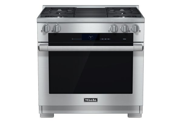 """Large image of Miele 36"""" Stainless Steel Freestanding Dual Fuel Range With Grill - 10902400"""