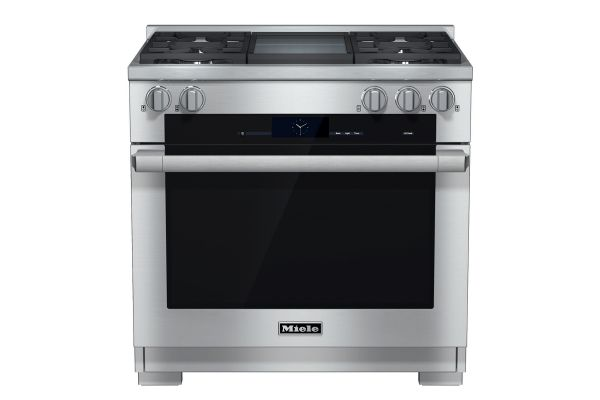 """Large image of Miele 36"""" Stainless Steel Freestanding Dual Fuel Liquid Propane Range With Griddle - HR19362DFGDLP"""