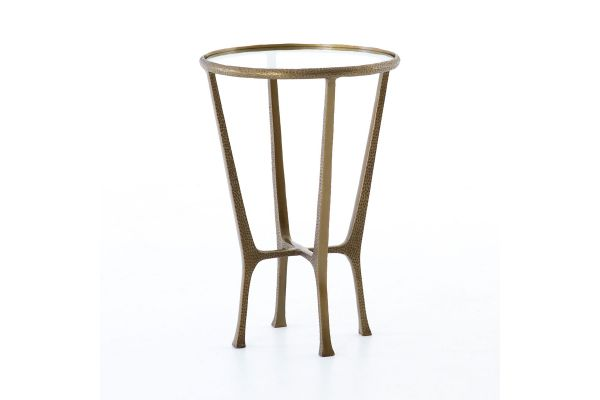 Large image of Four Hands Asher Collection Creighton Aged Brass End Table - IASR-076