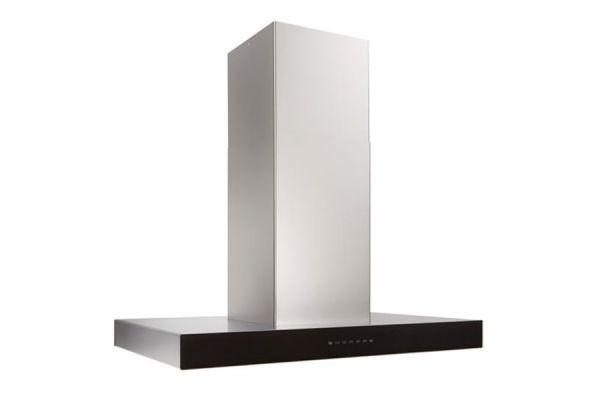"Large image of Best Ispira 36"" Stainless Steel With Black Glass Island Range Hood - ICB3I36SBB"