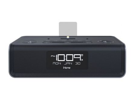 iHome Black Alarm Clock Radio - IDL43