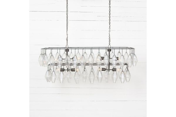 Large image of Four Hands Hutton Collection Ant Iron Adeline Rectangular Chandelier - IHTN-003