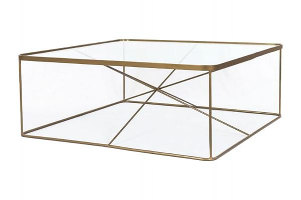 Large image of Four Hands Marlow Collection Antique Brass Lucas Square Coffee Table - IMAR-207