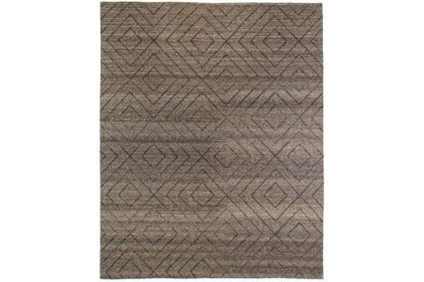 Large image of Four Hands Nomad Collection 9x12 Natural Diamond Patterned Wool Rug - INOM-002-0912