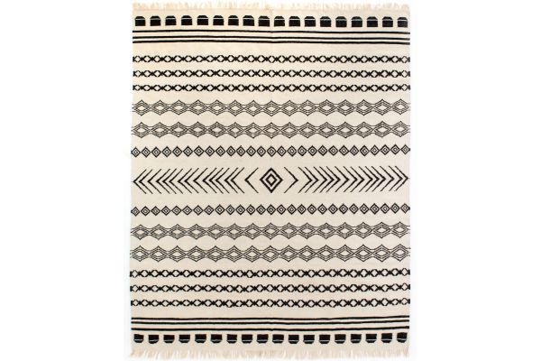 Large image of Four Hands Nomad Collection 9x12 Black Patterned Stripe Rug - INOM-010-0912