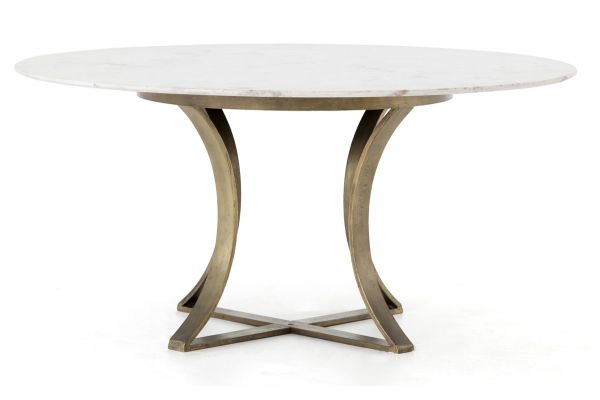 Four Hands White Marble Gage Dining Table - IRCK-144