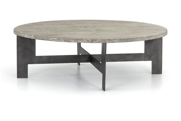 Large image of Four Hands Theory Collection Charcoal Round Coffee Table With Iron - ISD-0173