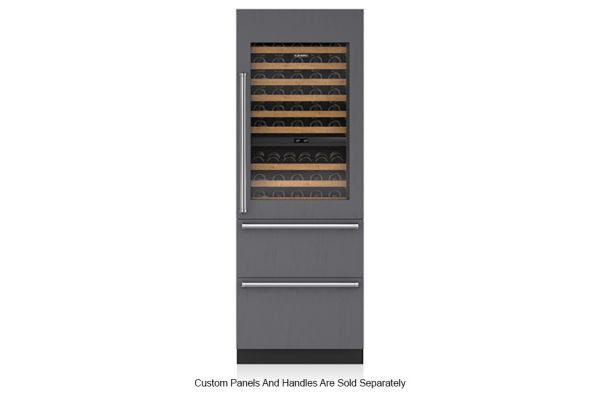 "Large image of Sub-Zero 30"" Panel Ready Integrated Right Hinge Wine Storage With Refrigerator & Freezer Drawers - IW30CIRH"