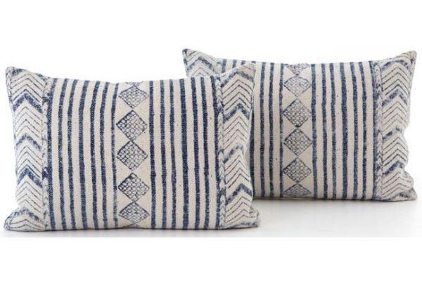 Large image of Four Hands Blue Diamond Lumbar Set Of 2 Pillows - IWIL-027