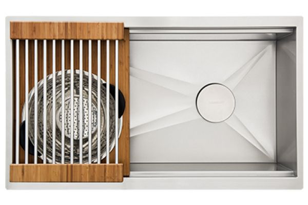 """Large image of The Galley 36"""" Bamboo Ideal Workstation 3 Single Bowl Sink Kit - IWS-3-S-BA"""