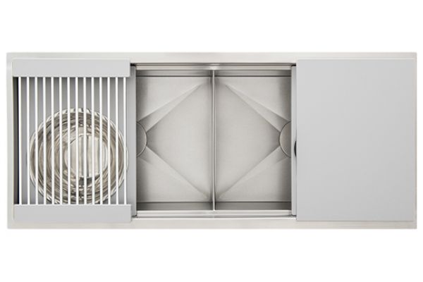 """Large image of The Galley 44"""" Grey Resin Ideal Workstation 4 Double Bowl Sink Kit - IWS-4-D-GR"""