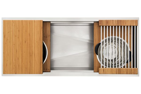 """Large image of The Galley 48"""" Bamboo Ideal Workstation 4 Single Bowl Sink Kit - IWS-4-S-BA"""