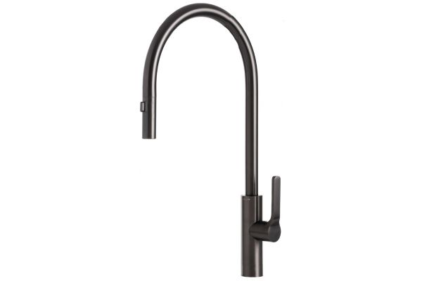 Large image of The Galley Tap Satin Black Stainless Steel Kitchen Faucet - IWT-D-BSS