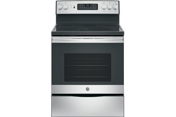 """Large image of GE 30"""" Fingerprint Resistant Stainless Steel Free-Standing Electric Convection Range - JB655YKFS"""