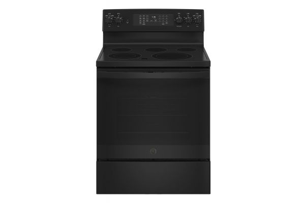 """Large image of GE 30"""" Black Freestanding Electric Convection Range With No Preheat Air Fry - JB735DPBB"""
