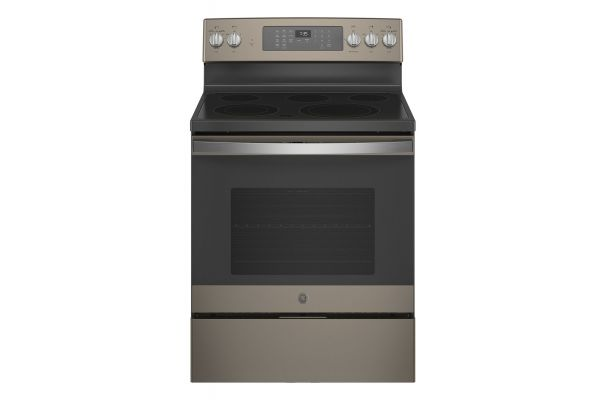 """Large image of GE 30"""" Fingerprint Resistant Slate Freestanding Electric Convection Range With No Preheat Air Fry - JB735EPES"""