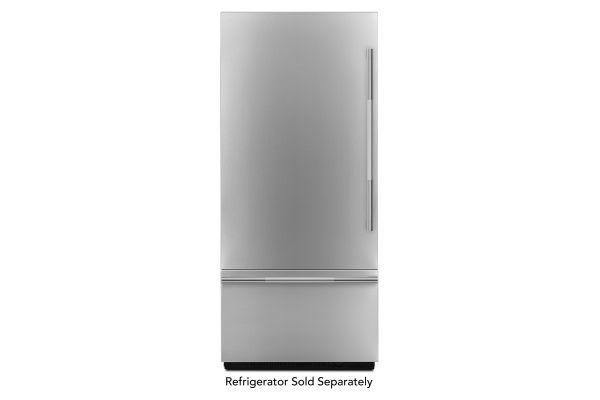 "Large image of JennAir RISE 36"" Fully Integrated Stainless Steel Built-In Bottom-Freezer Refrigerator Panel Kit - JBBFL36NHL"