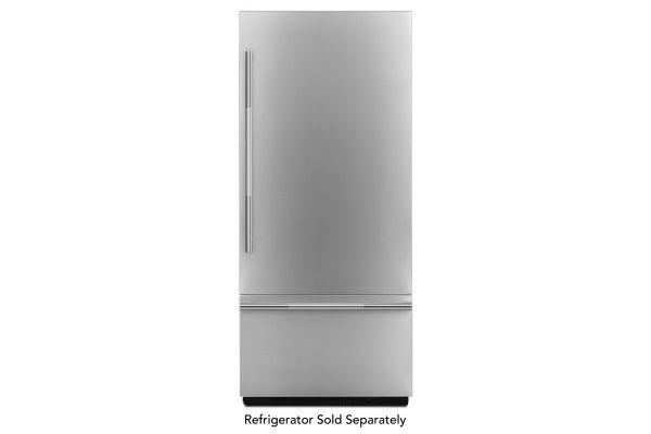 "Large image of JennAir RISE 36"" Stainless Steel Fully Integrated Built-In Bottom-Freezer Refrigerator Panel Kit - JBBFR36NHL"