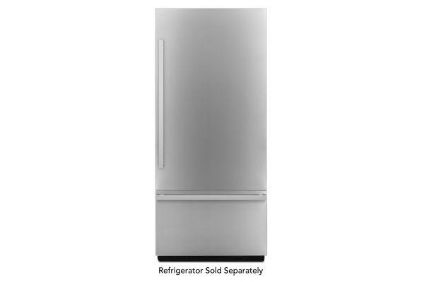 "Large image of JennAir NOIR 36"" Fully Integrated Stainless Steel Built-In Bottom-Freezer Refrigerator Panel Kit - JBBFR36NHM"