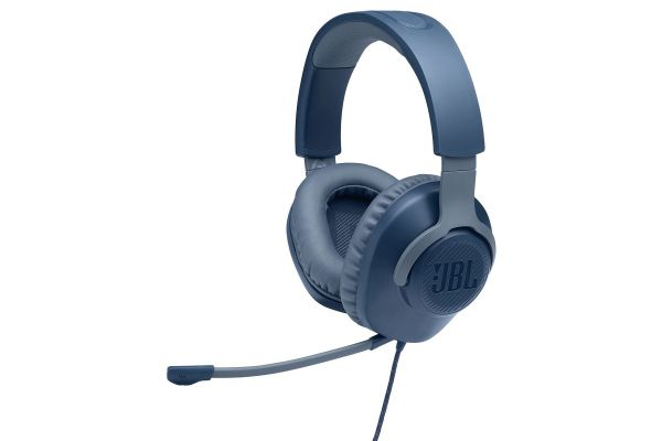 Large image of JBL Quantum 100 Blue Wired Over-Ear Gaming Headset W/ Detachable Mic - JBLQUANTUM100BLUAM