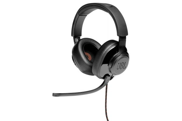 Large image of JBL Quantum 300 Black Hybrid Wired-Over-Ear Gaming Headset W/ Flip-Up Mic - JBLQUANTUM300BLKAM