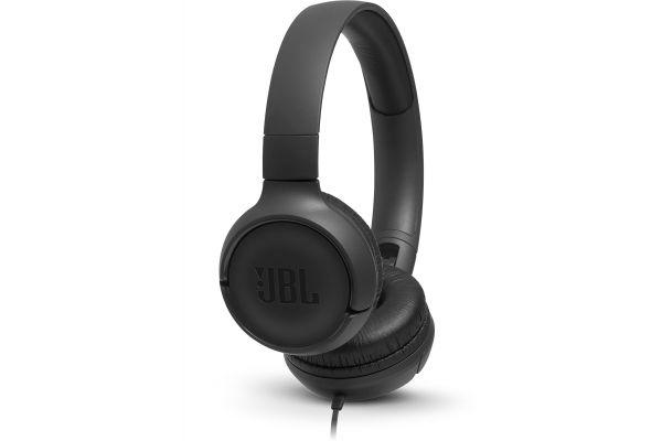 Large image of JBL TUNE 500 Black Wired On-Ear Headphones - JBLT500BLKAM