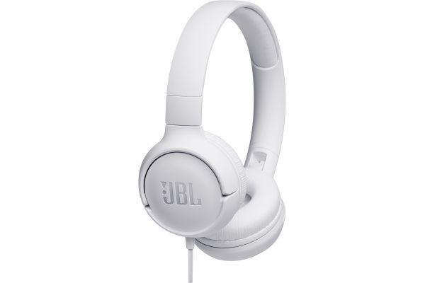 Large image of JBL TUNE 500 White Wired On-Ear Headphones - JBLT500WHTAM