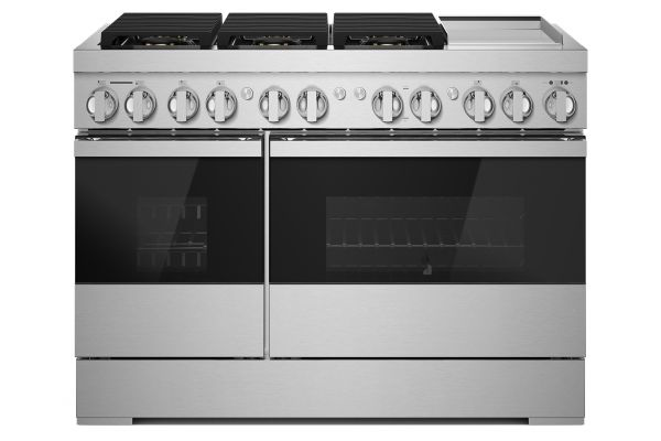 "Large image of JennAir NOIR 48"" Professional Style Stainless Steel Freestanding Dual Fuel Range - JDRP648HM"